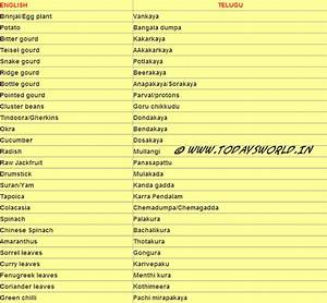 Vegetable Names From English To Telugu - Aravind The King