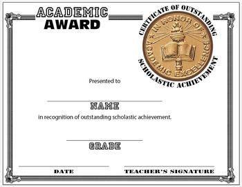 scholastic award certificate template education