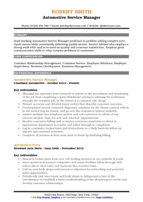 Auto Resume Writer by Automotive Service Manager Resume Sles Qwikresume