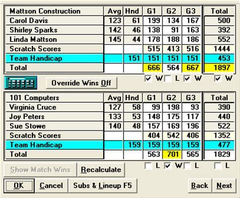 Printable Bowling Recap Score Sheets Software