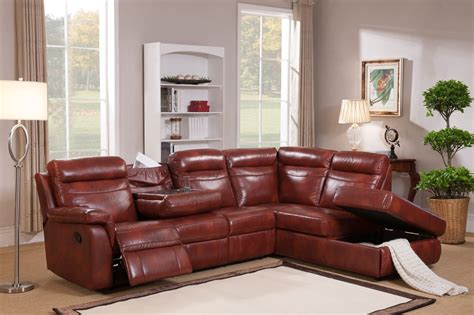 Hariston Genuine Caramel Leather Reclining Sectional Sofa