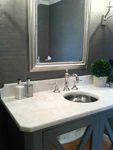 Gray grasscloth transitional bathroom pinney designs for Grasscloth wallpaper in bathroom