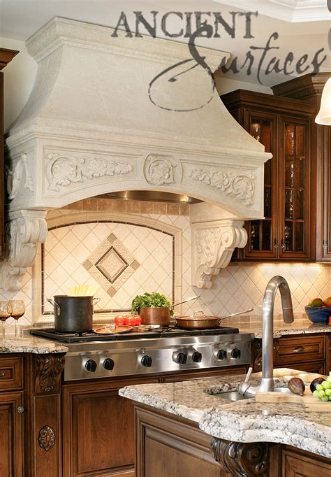 kitchen stone range hoods  ancient surfaces