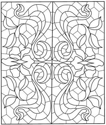 coloriage mandala carre avec motif de vitraux