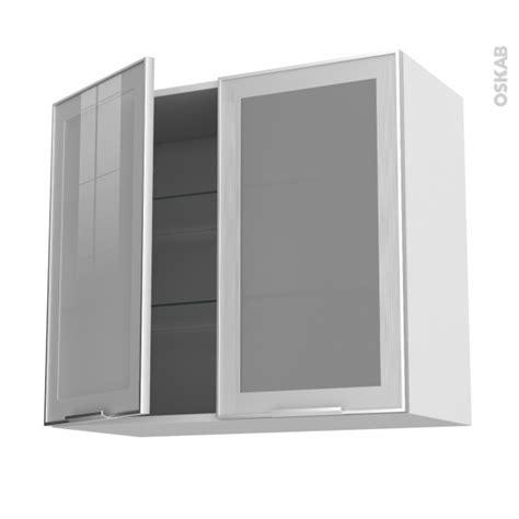 cuisine alu meuble de cuisine haut ouvrant vitré façade alu 2 portes