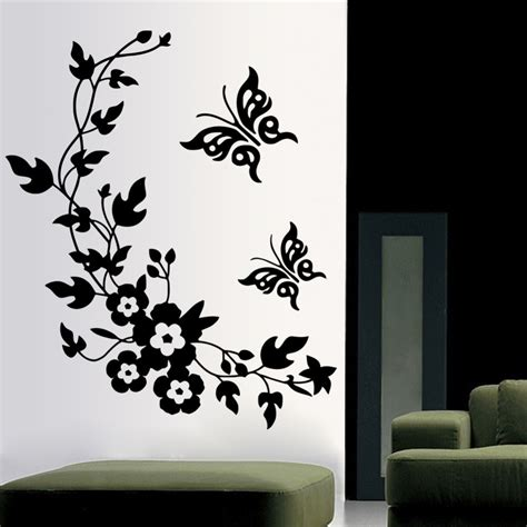 stickers de chambre 3d butterfly flowers wall sticker for room bedroom
