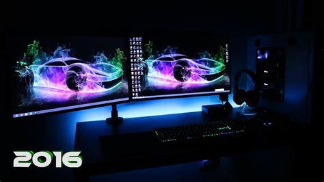 ultimate clean gaming setup  evolution dual monitors