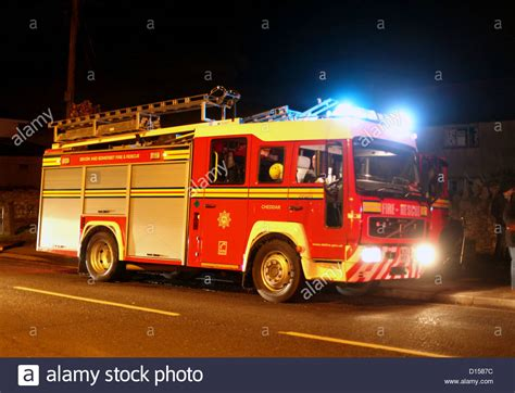British Fire Engine With Blue Lights, Actually In A