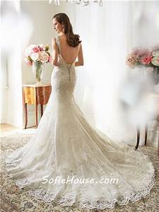 sexy mermaid scalloped boat neckline backless lace crystal With backless corset wedding dresses