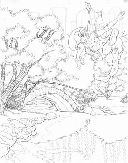 Scenery Coloring Pages Colouring Scenic Drawing Printable