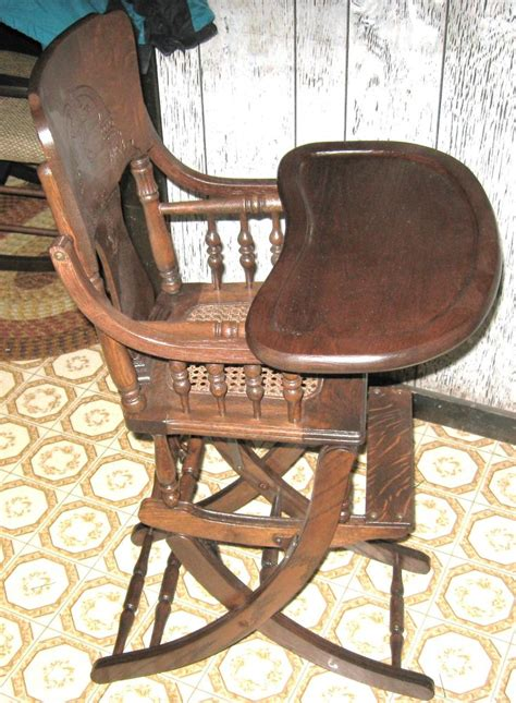 antique high chair rocker cane seat childs made in usa