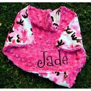 Pink Camo Minky Hot Pink Minky Baby Girl Blanket Personalized