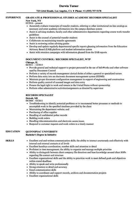 records specialist resume sles velvet