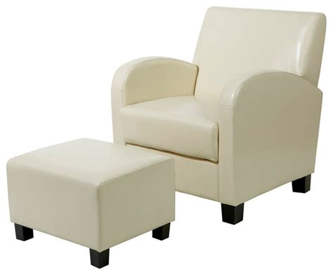 modern accent chair and ottoman cream faux leather club chair with ottoman contemporary