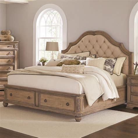 Bed Furniture by Coaster Ilana Upholstered Bed With Storage In Antique
