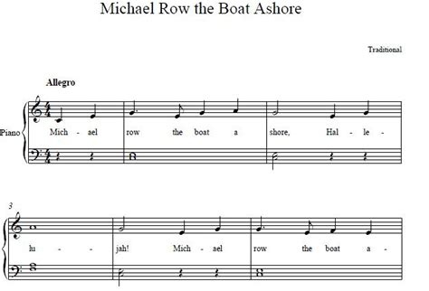 Row The Boat Ashore Piano by Beginner Piano Songs Sheet