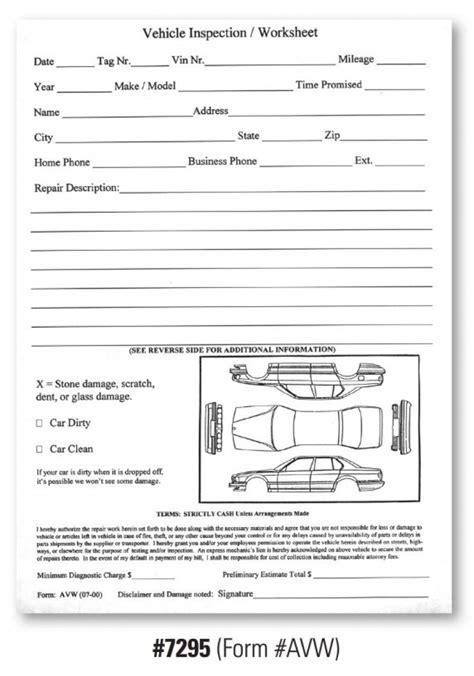 Vehicle Inspection Worksheet - Form #AVW , DealerStockRoom
