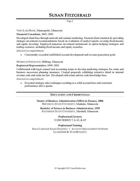 Resume Example  Investment Banking Careerperfectcom