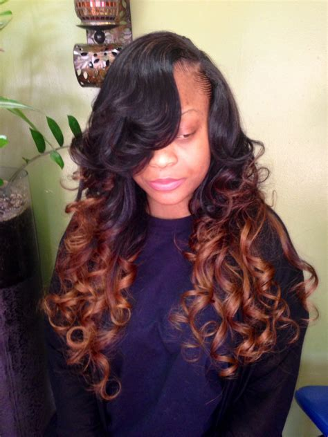 Ombre Weave Hairstyles by Ombr 233 Weave With Side Part Weave Hair Styles