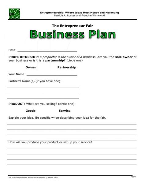 One Page Business Plan Template Cyberuse