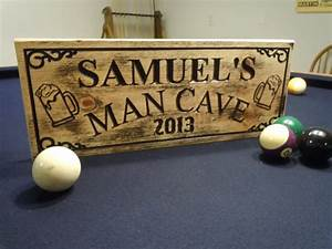 Man, Cave, Sign, Rustic, Distressed, Personalized, Wooden, Carved
