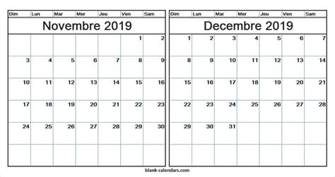 calendrier novembre decembre  imprimable imprimable