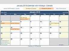 January 2019 Calendar Canada yearly printable calendar