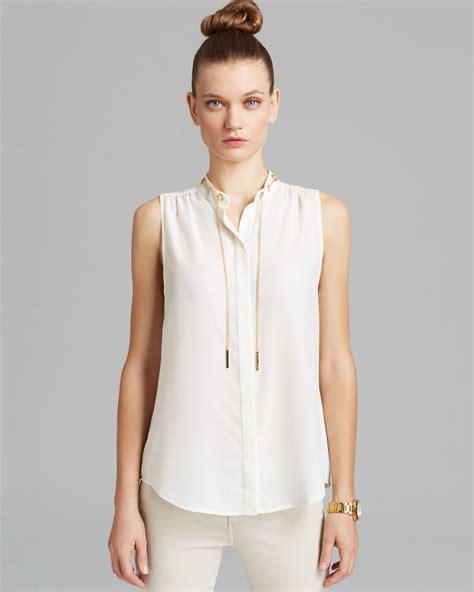michael kors blouse michael michael kors sleeveless chain neck blouse in white