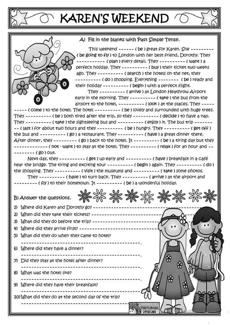 Karen's Weekend *past Simple Reading* Worksheet  Free Esl Printable Worksheets Made By Teachers