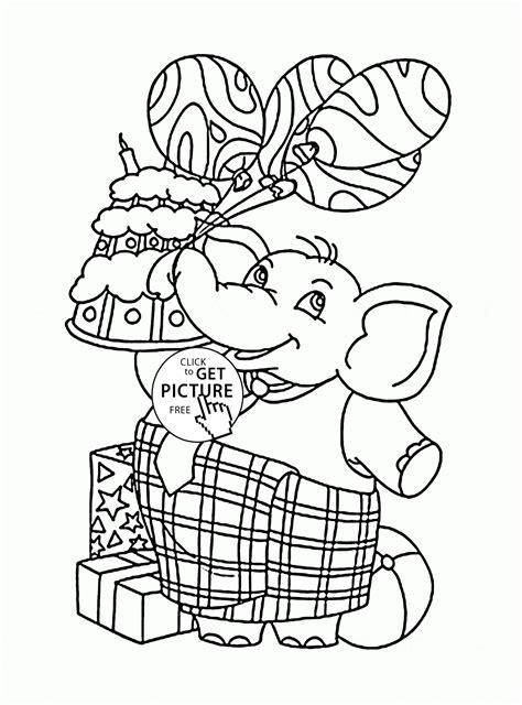 funny elephant  balloons  birthday cake coloring