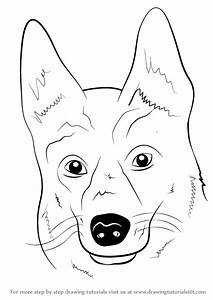 Learn How To Draw German Shepherd Dog Face Farm Animals