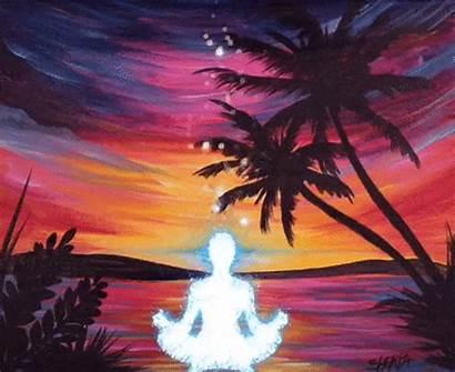 Sunset Painting Step Paradise Stream Acrylic Easy
