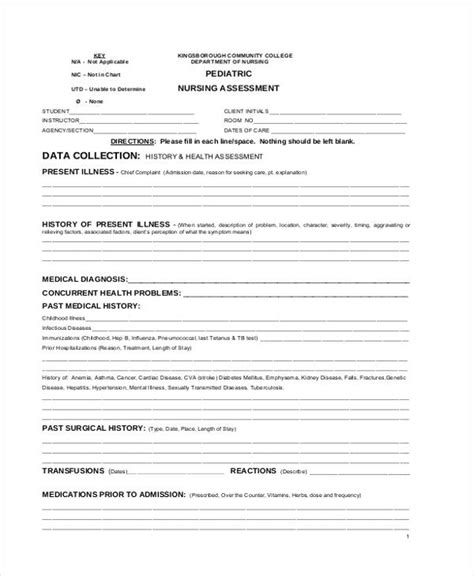 sample health assessment forms   ms word