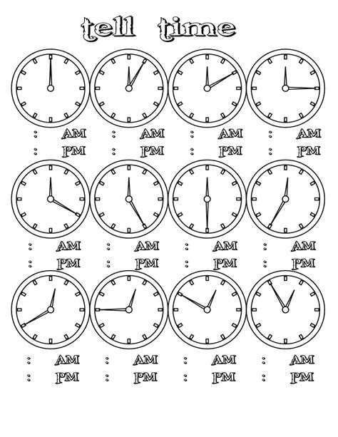 how to tell time clock printables for school