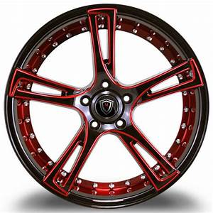 20 U0026quot  Marquee Wheels 3247 Black With Red Milled Inner Rims