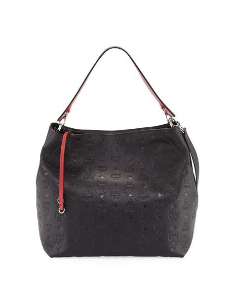 mcm klara monogrammed leather hobo bag neiman marcus