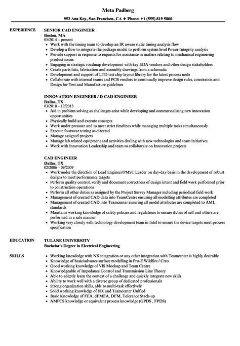 cad engineer resume sles velvet