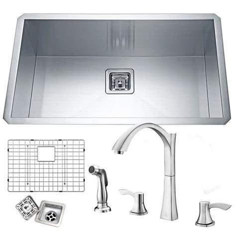 satin finish stainless steel kitchen sinks anzzi vanguard undermount stainless steel 32 in single 9270