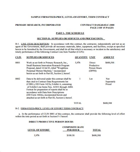 price proposal template template business