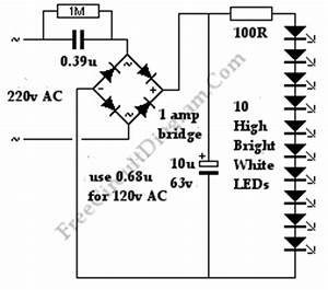 white leds mains night light circuit diagram world With simple white led night light ledandlightcircuit circuit diagram
