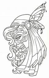 Gypsy Coloring Pages Tattoo Adults Woman Dead Outline Tattoos Template Sketch sketch template