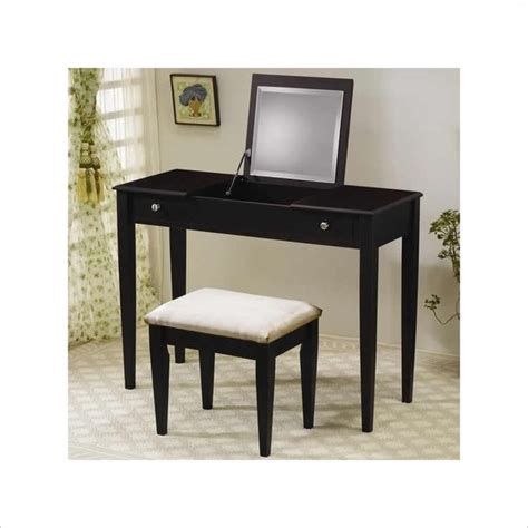 Cymax Bedroom Sets by Coaster Wood Two Drawer Makeup Vanity Table Set With