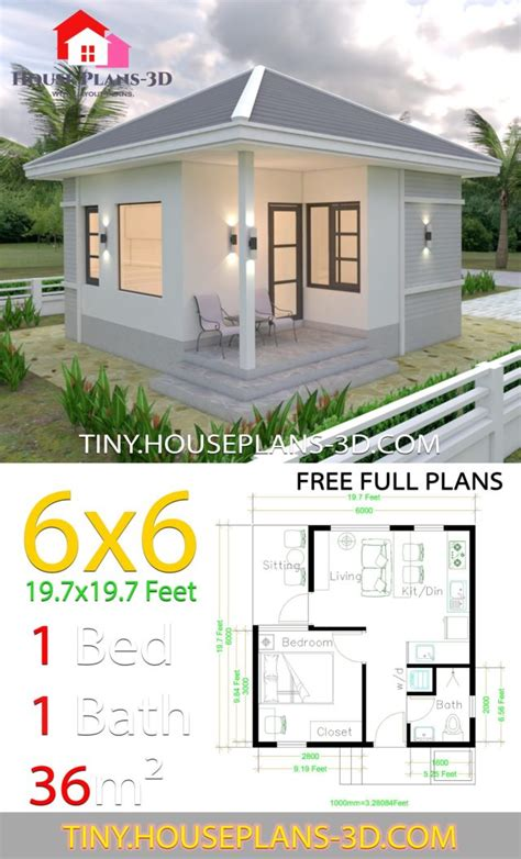 Small House Plans 6x6 with One Bedroom Hip Roof Tiny