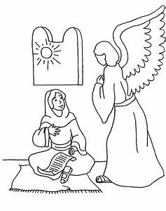 Free An Angel Speaks To Mary Coloring Pages