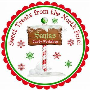 christmas stickers north pole candy workshop santa claus With christmas labels and seals
