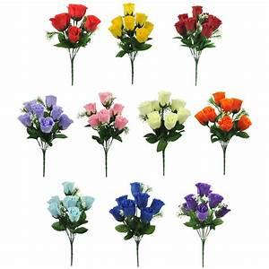 ARTIFICIAL SILK FLOWERS ROSE BUD BUNCH 10 COLOURS Wedding