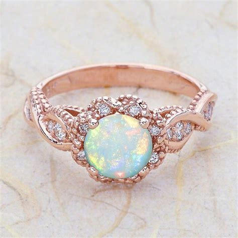 aliexpress com buy 2018 new rose gold opal rings for women engagement rings wedding for