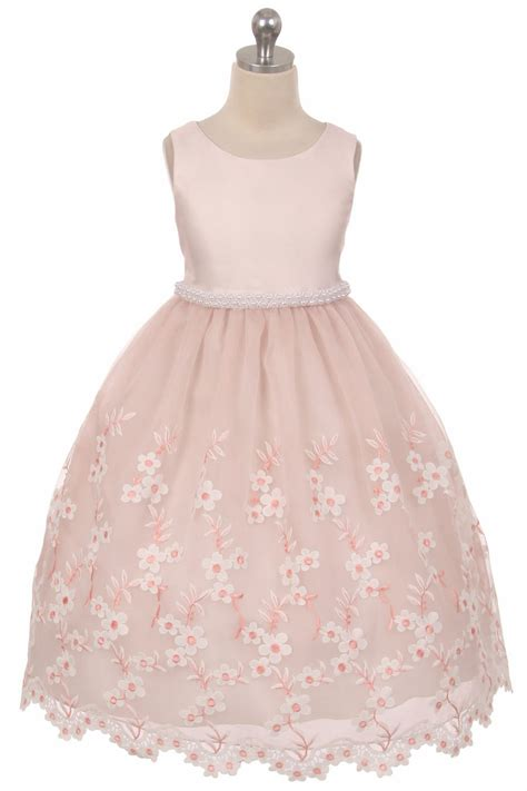 dusty rose embroidered floral dress  pearl waistband