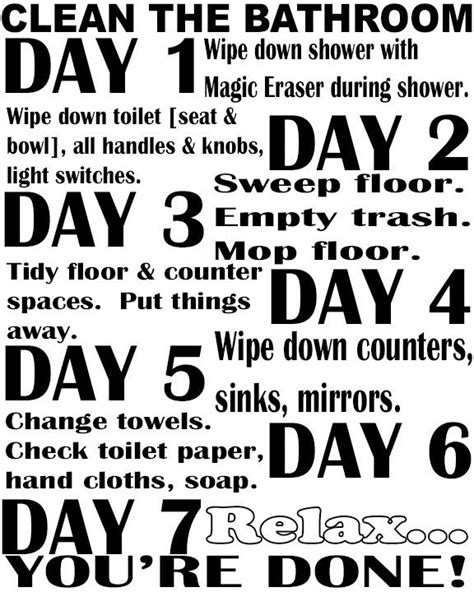 5 best images of bathroom cleaning schedule printable free printable bathroom checklist daily