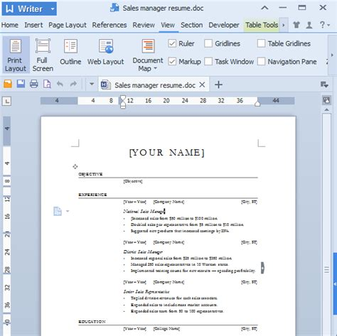 guide for word templates in kingsoft writer 2013